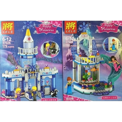 Конструктор LELE 37026 (аналог Lego Disney Princesses) Зимние дворцы принцесс Эльзы и Анны (два вида), 179 и 166 дет.