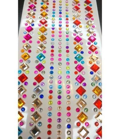 Стразы самоклеющиеся квадратики разноцветные
