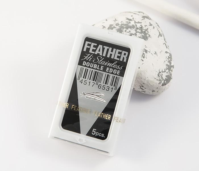 Feather, Японские классические лезвия для бритья «FEATHER» с платиновым покрытием (5 шт)