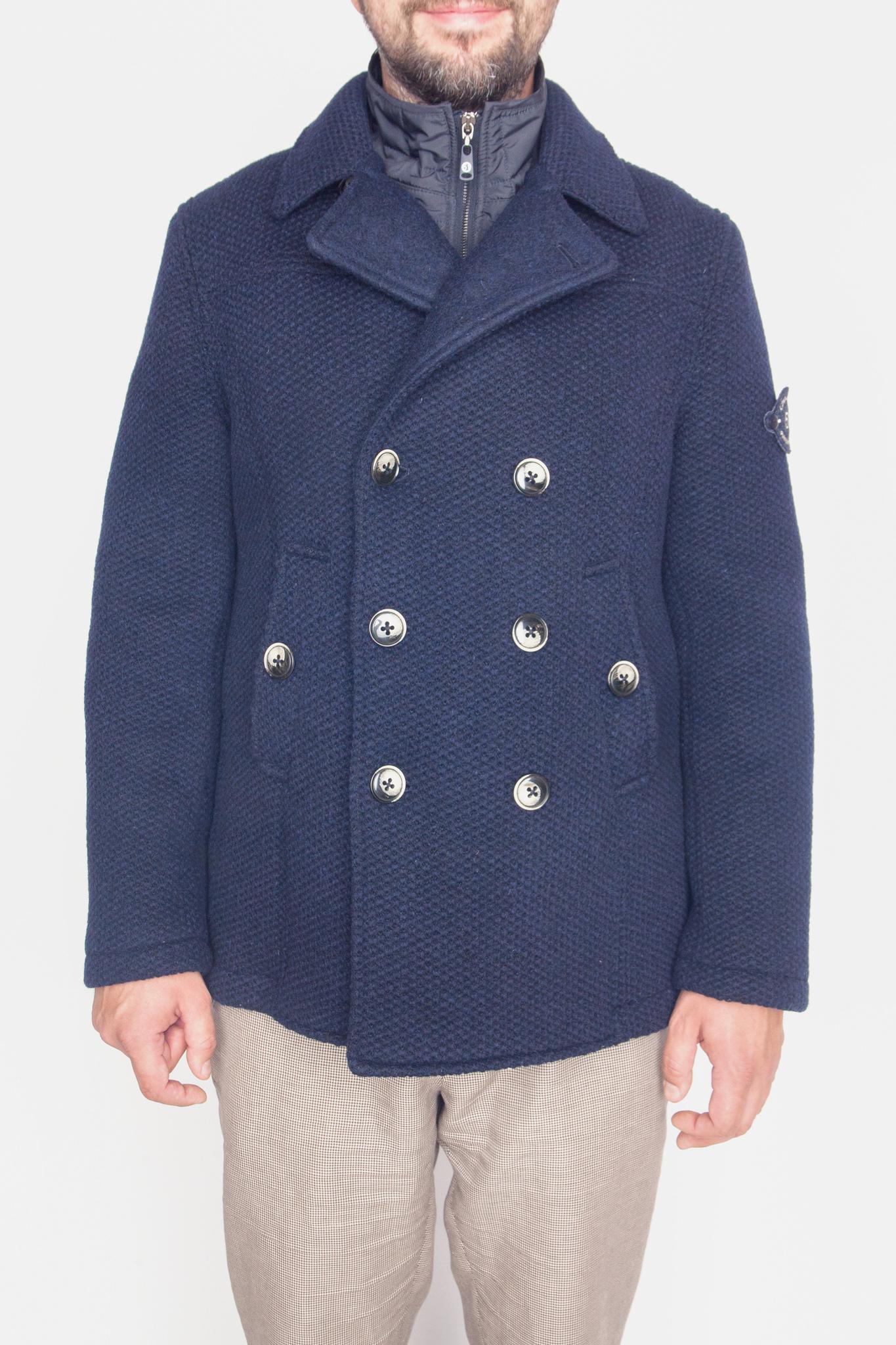 Двубортное тёмно-синее пальто из натуральной шерсти