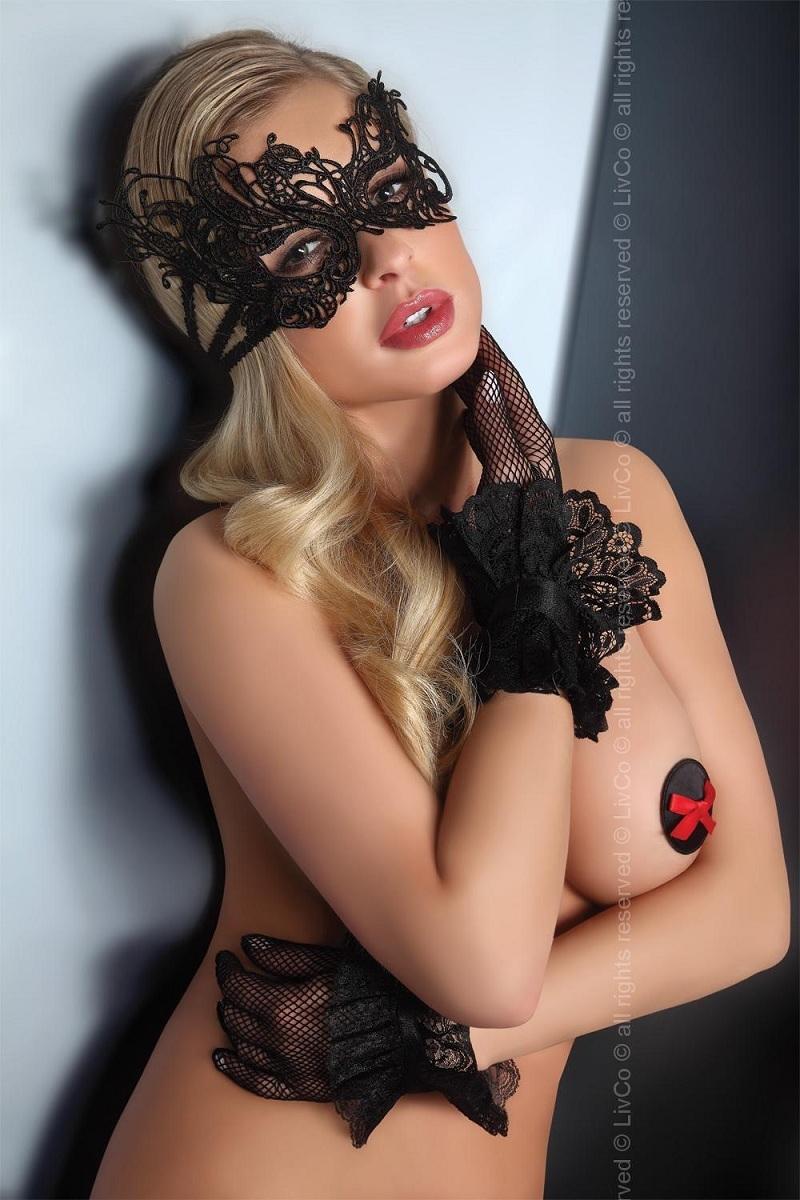 Перчатки и аксессуары: Изысканная чёрная маска на глаза