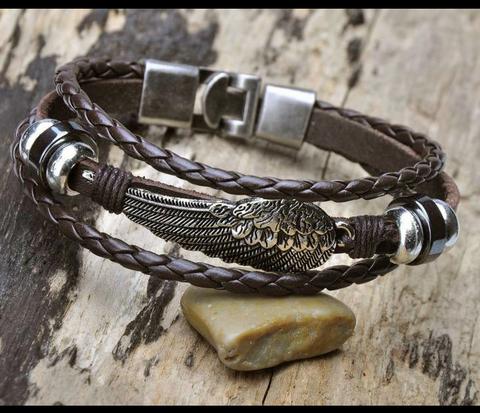 BL264-2 Мужской кожаный браслет с крылом на металлической застежке
