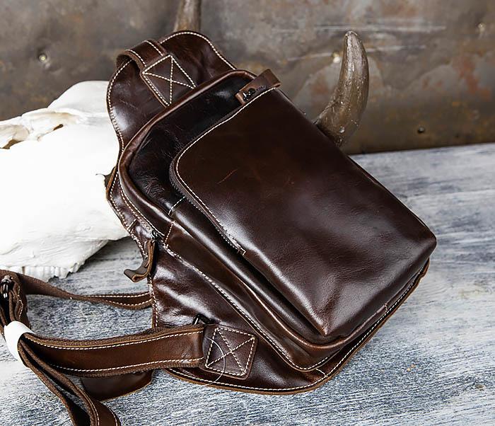 BAG447-2 Кожаная сумка рюкзак с лямкой через плечо
