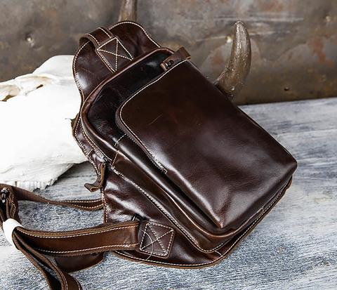 Кожаная сумка рюкзак с лямкой через плечо