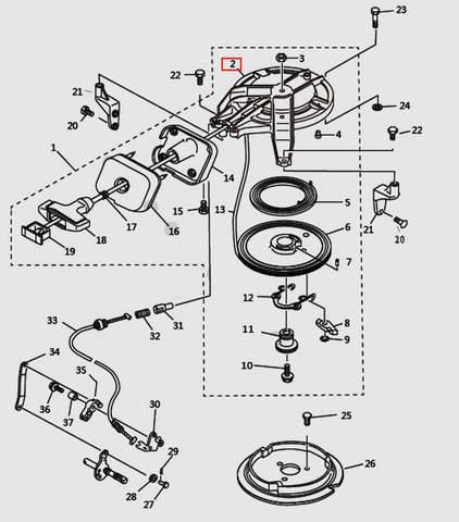 Корпус стартера для лодочного мотора T9.8 Sea-PRO (7-2)