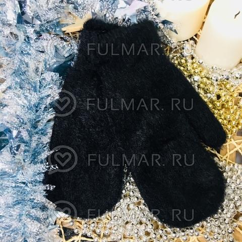 Варежки женские зимние пушистые (цвет: Чёрная Классика)