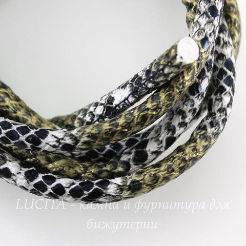 """Шнур (искусств. кожа), 6 мм, """"Змея"""", цвет - черно-белый с золотом, примерно 1 м"""