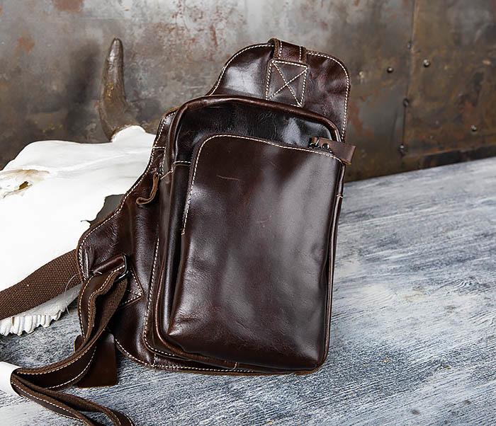 BAG447-2 Кожаная сумка рюкзак с лямкой через плечо фото 02