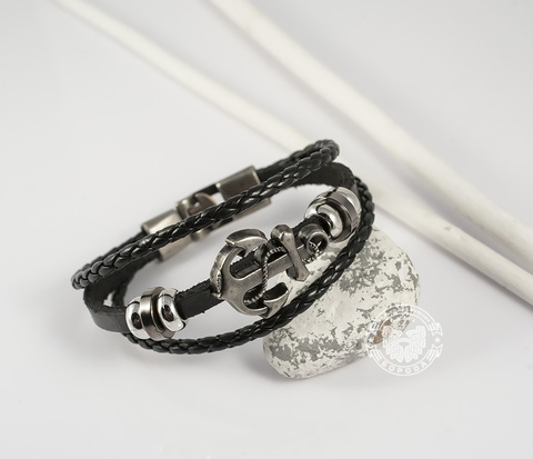 BL265-1 Мужской браслет с якорем на металлической застежке