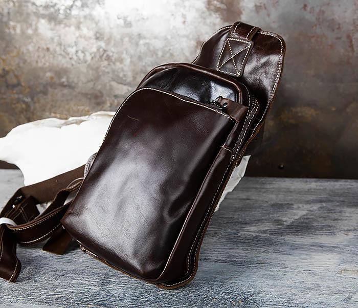 BAG447-2 Кожаная сумка рюкзак с лямкой через плечо фото 03