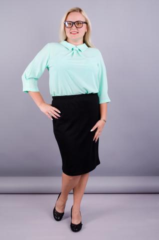 Пион. Офисная юбка больших размеров. Черный.