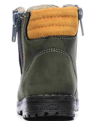 Демисезонные ботинки для мальчиков Котофей 152113-35 из натуральной кожи на молнии цвет серо-зеленый. Изображение 3 из 5.