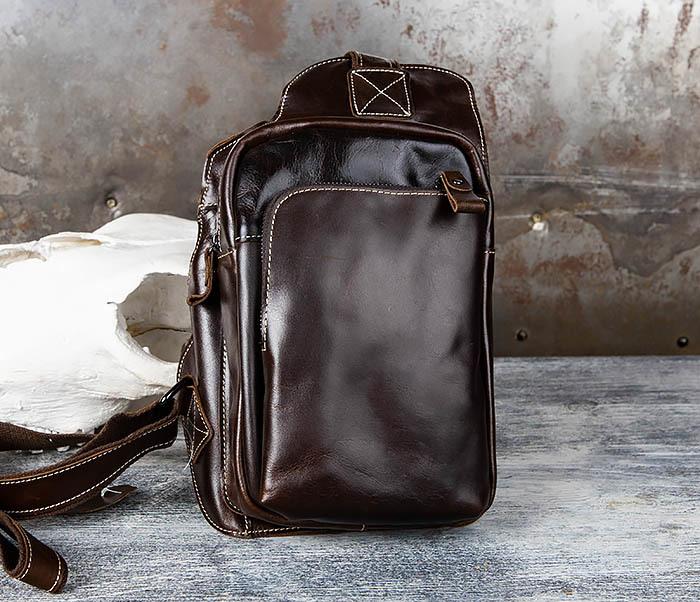 BAG447-2 Кожаная сумка рюкзак с лямкой через плечо фото 04