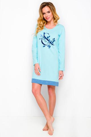 Женская сорочка голубого цвета с длинными рукавами