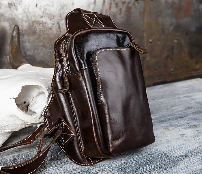 BAG447-2 Кожаная сумка рюкзак с лямкой через плечо фото 05