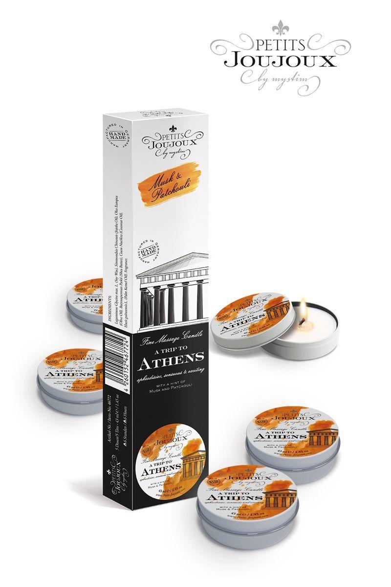 Массажные масла и свечи: Набор из 5 свечей Petits Joujoux Athens с ароматом муската и пачули