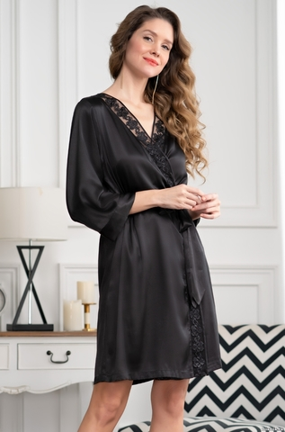 Халатик  женский шелковый на запах  Mia-Amore MARISIA МАРИСИЯ 8583 черный