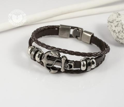 BL265-2 Коричневый мужской браслет с якорем на металлической застежке