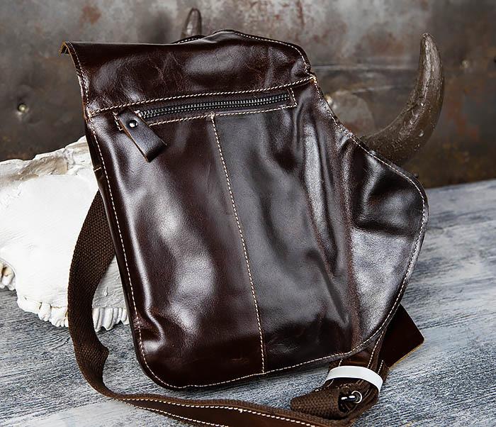 BAG447-2 Кожаная сумка рюкзак с лямкой через плечо фото 06