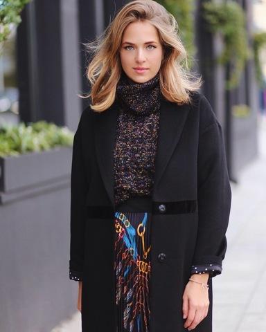 Пальто over-midi с бархатной вставкой