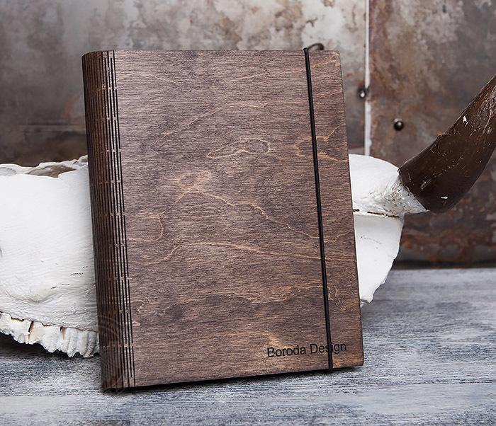 BC133-2 Оригинальный блокнот в деревянной обложке со сменным блоком