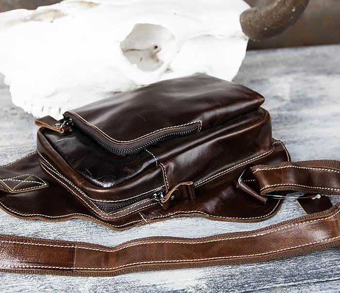 BAG447-2 Кожаная сумка рюкзак с лямкой через плечо фото 07