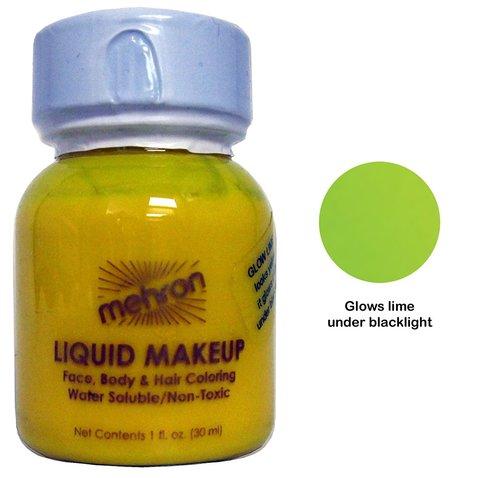 MEHRON Светящийся в ультрафиолете жидкий грим Liquid Makeup, Fluorescent (Black Light) Lime