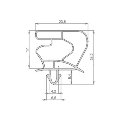 Уплотнитель для холодильника Liebherr FKUv 1663 (размер по пазу).  Размер 72,5*56,5 см Профиль 023
