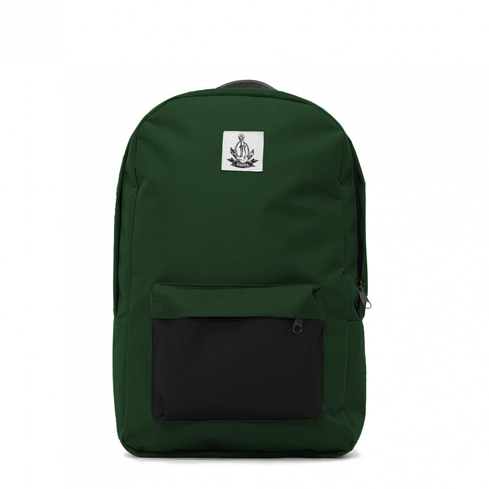 Рюкзак ЯКОРЬ Плот II ранга Темно-зелёный / черный кожзам кармана