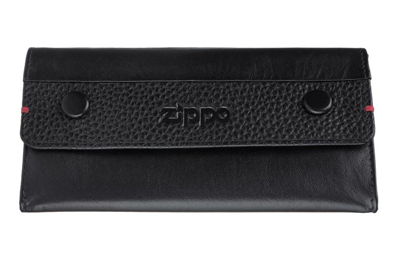 Кожаный американский чёрный кисет 17х8х2 см для табака Zippo 2006060