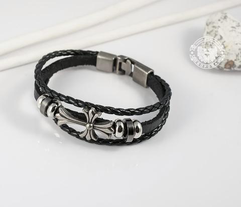 BL266-1 Оригинальный черный браслет из кожи и с металлическим крестом (20,5 см)