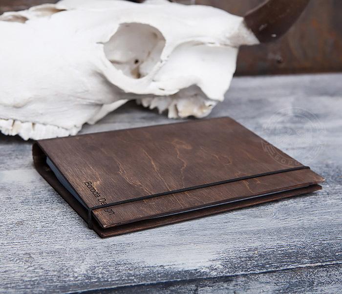 BC133-2 Оригинальный блокнот в деревянной обложке со сменным блоком фото 04