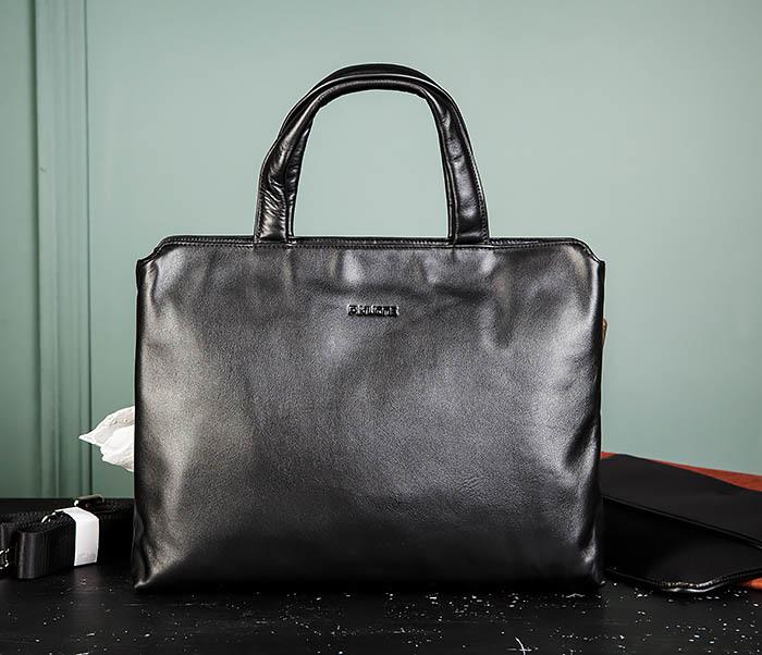 BAG485-1 Мужская деловая сумка из гладкой натуральной кожи фото 02