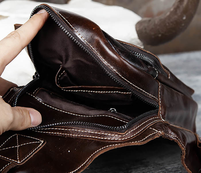 BAG447-2 Кожаная сумка рюкзак с лямкой через плечо фото 09