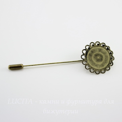 """Основа для броши """"Иголочка"""" с сеттингом для кабошона 20 мм, 78х26 мм (цвет - античная бронза)"""
