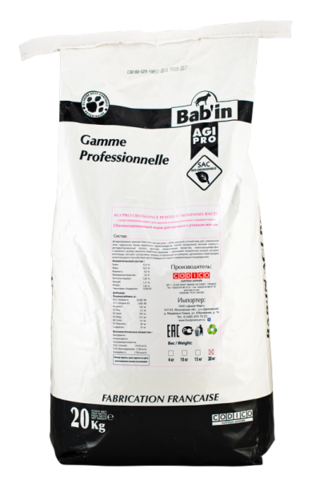 Bab'in Agi Pro Croissance PMR сухой корм для щенков мелких и средних пород 20 кг