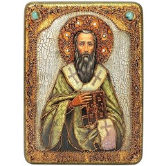 Инкрустированная икона Святитель Василий Великий 29х21см на натуральном дереве в подарочной коробке