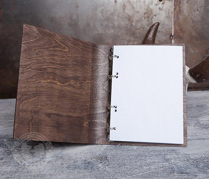 BC133-2 Оригинальный блокнот в деревянной обложке со сменным блоком фото 06