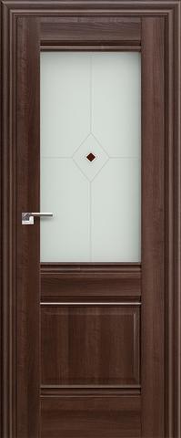 Дверь Profil Doors №2Х-Классика, стекло узор, цвет орех сиена, остекленная