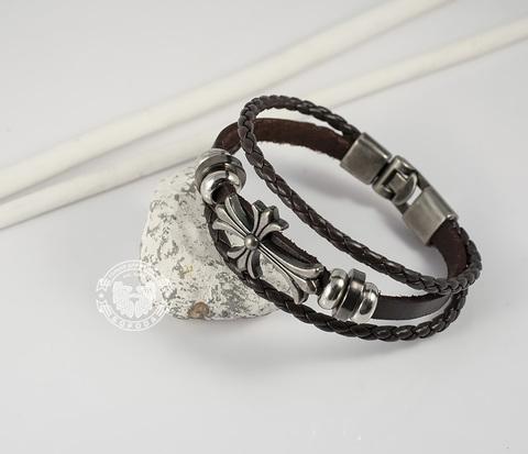 BL266-2 Оригинальный коричневый браслет из кожи и с металлическим крестом (20 см)