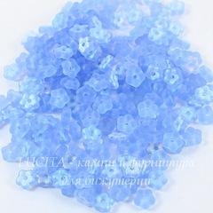 Бусина Buttercup flower Цветочек, 5 мм, светло-синяя матовая с AB-покрытием