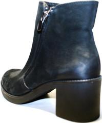 Кожаные женские черные ботинки