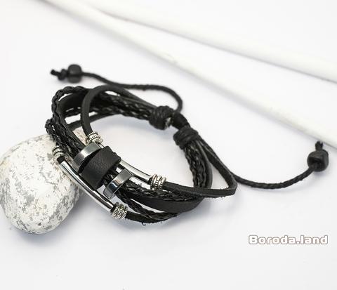 BL267 Мужской браслет из натуральной кожи с металлическими вставками, на затяжках