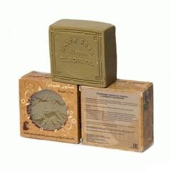 Мыло алеппское оливковое в картонной коробке с круглыми отверстиями АМБРА и МУСКУС, 150g ТМ Клеопатра