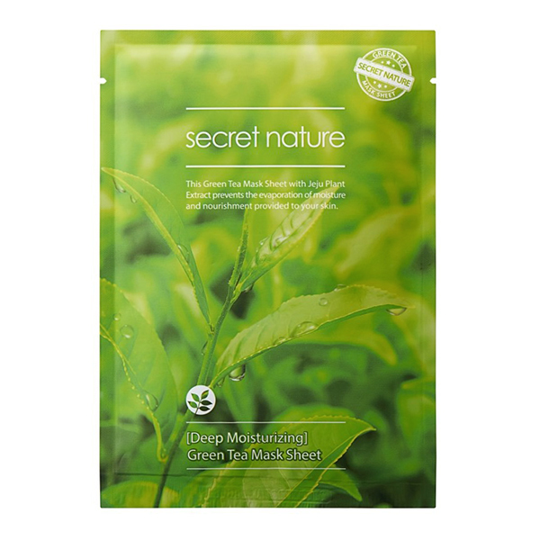 Тканевые маски Тканевая маска для лица с Зеленым чаем, SECRET NATURE , Deep Moisturizing Green Tea Mask Sheet, 25г green_tea.jpg