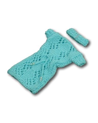 Вязаное платье - Бирюзовый. Одежда для кукол, пупсов и мягких игрушек.