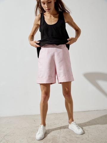 Шорты лен шерсть шелк светло-розовый