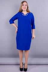 Эвелин. Элегантное платье больших размеров. Электрик.