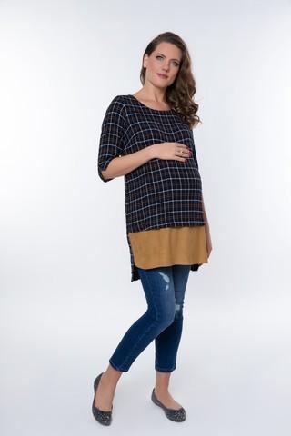 Туника для беременных 08963 синий-бежевый