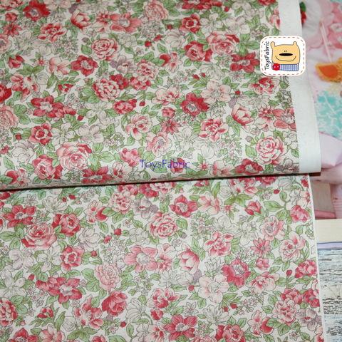 Корейский хлопок 20853 (цветы бежевый фон) 45х55см